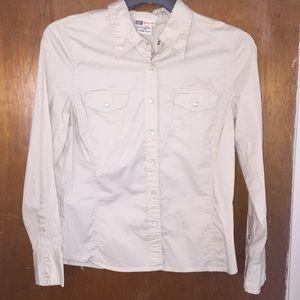 Faded Glory Stretch buttondown fitted blouse 12/14